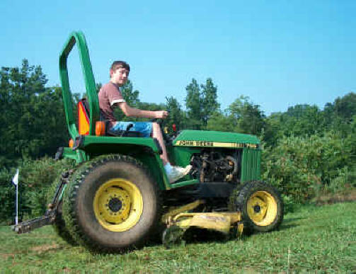 Adam is mowing the grass between the rows of Blueberries   making  picking easier and more fun
